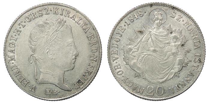 World Coins - HUNGARY Ferdinand V 1848 20 Krajczar UNC