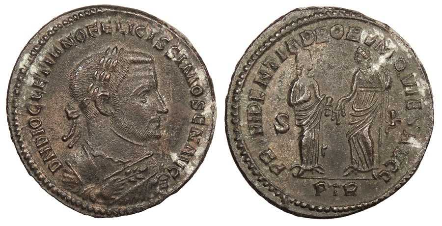 Ancient Coins - Diocletian 284-305 A.D. Follis Trier Mint EF