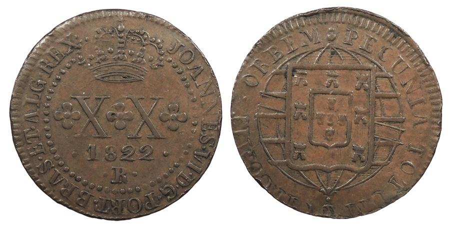 World Coins - BRAZIL Joao VI 1822-R Contemporary counterfeit 20 Reis Choice EF