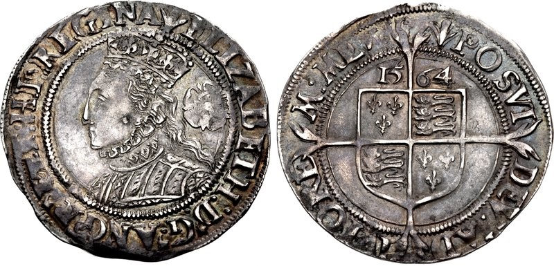 World Coins - TUDOR. Elizabeth I. 1558-1603. AR Sixpence (25mm, 2.88 g, 5h). Third coinage. Tower (London) mint; im: pheon. Dated 1564/2.