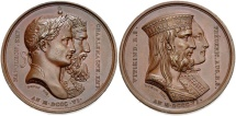 World Coins - <b>FRANCE, Premier Empire. <i>Napoléon I. </i></b>1804-1814. Æ Medal. Alliance with Saxony. By Andrieu. Denon, director. Dated 1806 (<i>in Roman numerals</i>).