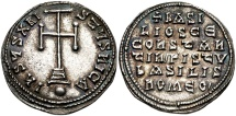 Ancient Coins - <b>Basil I the Macedonian, with Constantine. </b>867-886. AR Miliaresion (23mm, 3.17 g, 12h). Constantinople mint. Struck 868-879.