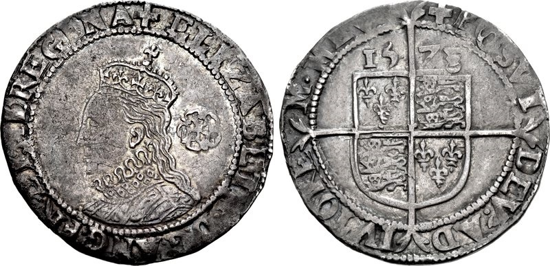 World Coins - TUDOR. Elizabeth I. 1558-1603. AR Sixpence (26 mm, 2.95 g, 7h). Fifth coinage. Tower (London) mint; im: Greek cross. Dated 1578.
