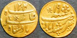 World Coins - BRITISH INDIA, BENGAL PRESIDENCY: Gold 1/4 mohur in the name of Shah Alam II, Calcutta, 1793 series. SCARCE + CHOICE+!