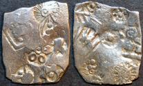 Ancient Coins - INDIA, MAGADHA: Series I AR punchmarked karshapana GH 223. RARE and CHOICE!