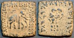 Ancient Coins - INDO-GREEK: Archebios AE hemi-obol or quadruple, Elephant/Owl. SCARCE!