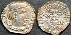 Ancient Coins - INDIA, WESTERN KSHATRAPAS: Rudrasena III (348-378 CE) Silver drachm, year S. 29x. CHOICE!