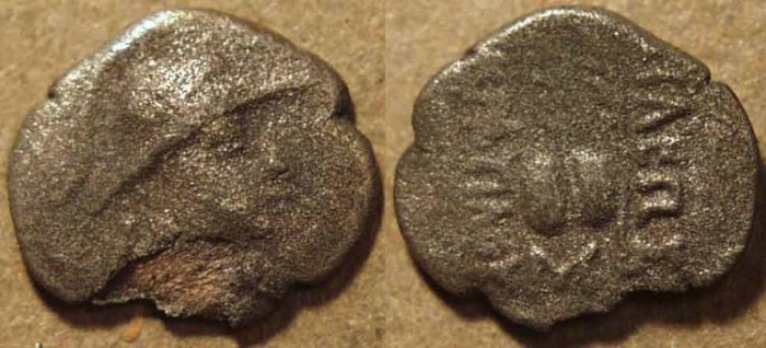 Ancient Coins - BACTRIA, Eukratides AR obol, helmeted type. RARE!