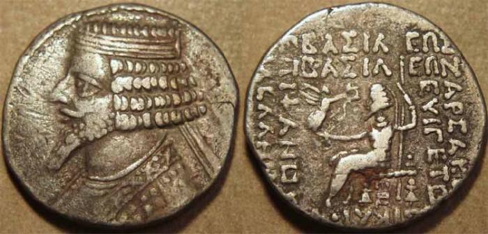 Ancient Coins - PARTHIA, TIRIDATES (29-26 BCE) Silver or Billon tetradrachm, Seleucia, Sell 55.3-6