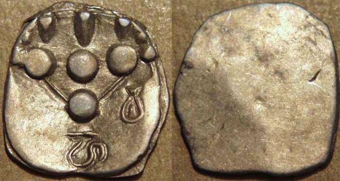 Ancient Coins - INDIA, UNKNOWN KINGDOM IN SIND OR MULTAN, Silver unit with Brahmi Ha Va. CHOICE!