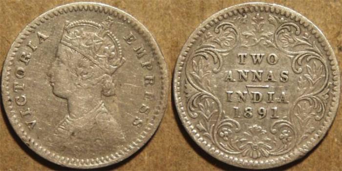 Ancient Coins - BRITISH INDIA, Victoria Silver 2 annas (1/8 rupee), Calcutta mint, 1891.