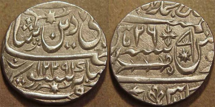 World Coins - INDIA, AWADH: Silver rupee in name of Shah Alam II, Lucknow, AH 1229, RY 26. SUPERB!