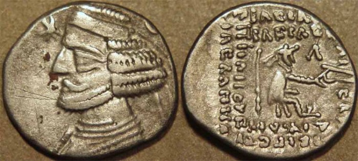 Ancient Coins - PARTHIA, ORODES II (57-38 BCE) Silver drachm, Laodecia, Sell 47.17. SCARCE & CHOICE!