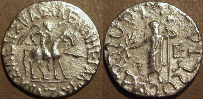 Ancient Coins - INDO-SCYTHIAN, AZES I Silver tetradrachm, Senior 80, SCARCE!