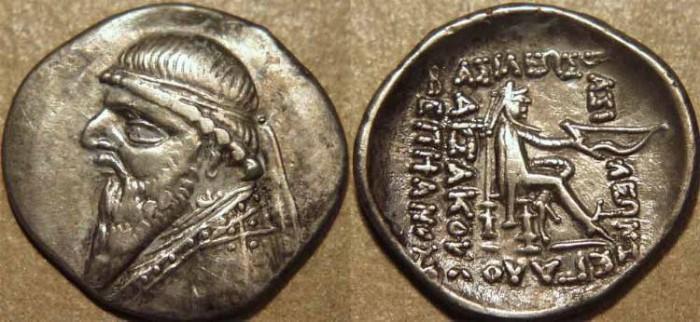 Ancient Coins - PARTHIA, MITHRADATES II (123-88 BCE) Silver drachm, Rhagae, Sell 27.1. CHOICE!