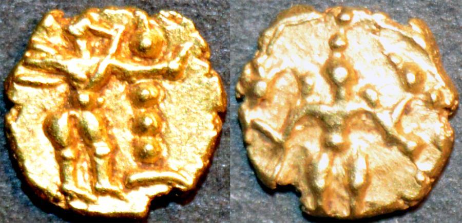 World Coins - INDIA, Kadambas of Nagarkhanda: Anonymous Gold fanam, Vishnu reverse. VERY RARE+SUPERB!