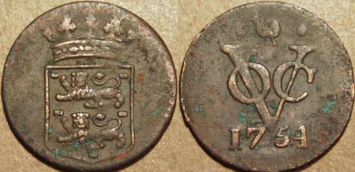 Ancient Coins - DUTCH EAST INDIES: Copper duit of Westfriesland, 1754