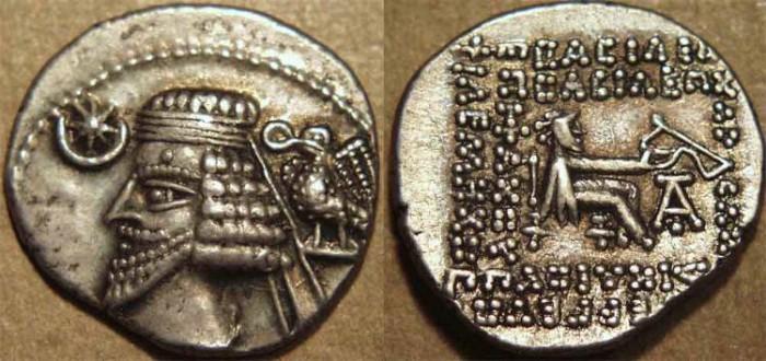 Ancient Coins - PARTHIA, PHRAATES IV (38-2 BCE) Silver drachm, Ecbatana, Sell 54.7. CHOICE!