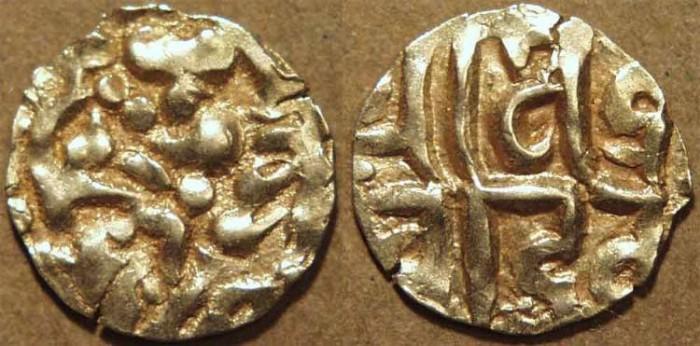 World Coins - INDIA, KALACHURIS of RATNAPUR: Ratna Deva Gold 1+1/8 masha. RARE+CHOICE!