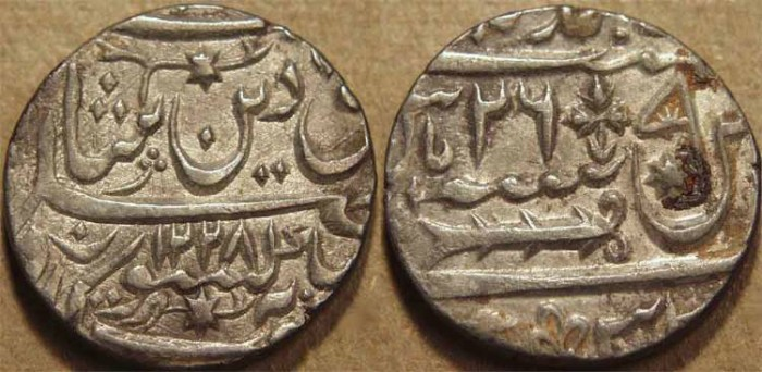 Ancient Coins - INDIA, AWADH: Silver rupee in name of Shah Alam II, Lucknow, AH 1228, RY 26. CHOICE!