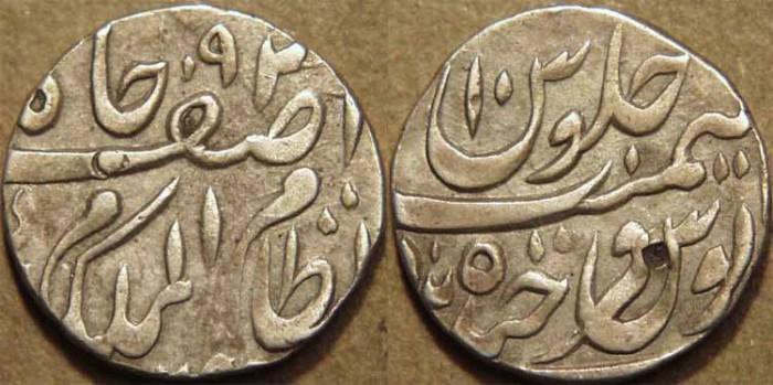 Ancient Coins - INDIA, HYDERABAD, Mir Mahbub Ali Khan (1868-1911) Silver 1/2 rupee ino Asaf Jah, Hyderabad, RY 10. CHOICE!