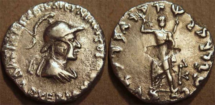 Ancient Coins - INDO-GREEK: Archebios AR tetradrachm: helmeted bust with unusual countermark. VERY RARE!