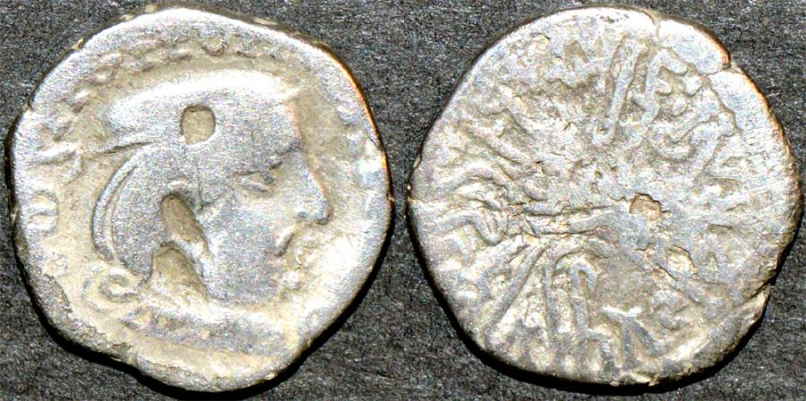 Ancient Coins - INDIA, WESTERN KSHATRAPAS: Rudrasena II (255-278 CE) Silver drachm, year S. 188. BARGAIN-PRICED!