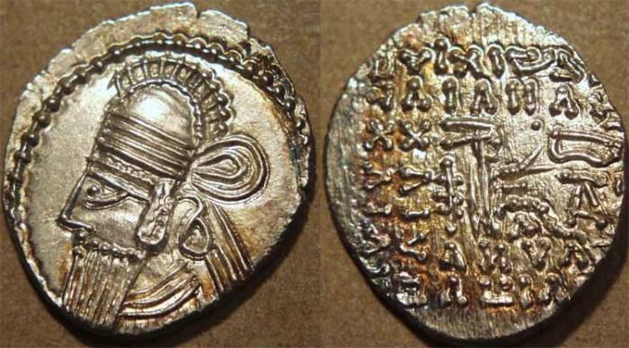 Ancient Coins - PARTHIA, VOLOGASES IV (147-191 CE) Silver drachm, Ecbatana, Sell 84.131. SUPERB!