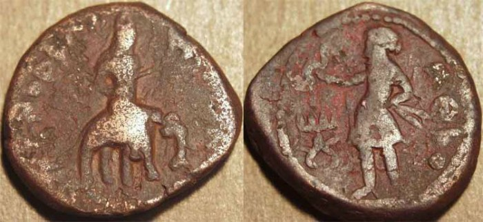 Ancient Coins - INDIA, KUSHAN: Huvishka AE tetradrachm, Elephant-rider/Athsho, heavy weight type. SCARCE!