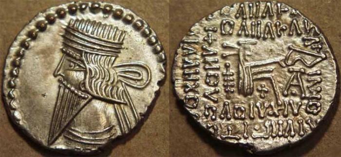 Ancient Coins - PARTHIA, VOLOGASES III (105-147 CE) Silver drachm, Ecbatana, Sell 78.3. SUPERB!