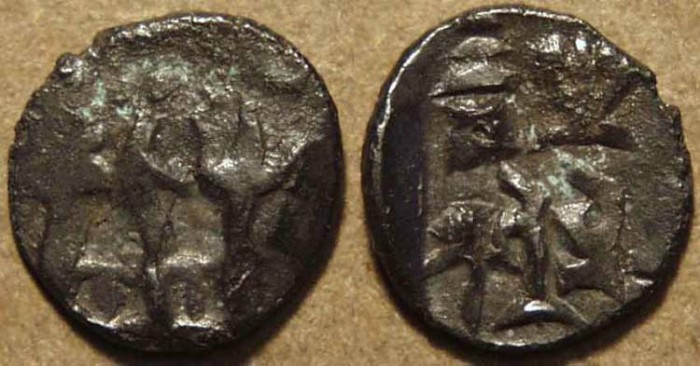 Ancient Coins - INDIA, PANCHALA, Agnimitra AE 1/16 karshapana, UNLISTED and CHOICE!