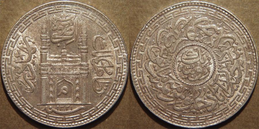 World Coins - INDIA, HYDERABAD, Mir Mahbub Ali Khan (1868-1911) Charminar Series Silver rupee, Hyderabad, AH 1321, RY 38. SUPERB!