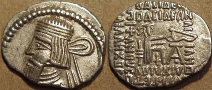 Ancient Coins - PARTHIA, ARTABANOS III (80-90 CE) Silver drachm, Ecbatana, Sell 74.6. RARE & SUPERB!