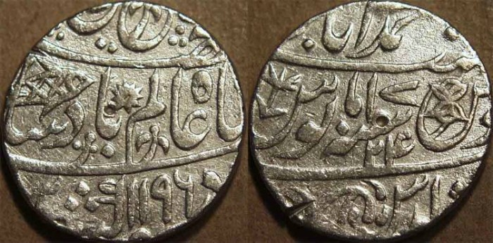 Ancient Coins - BRITISH INDIA, BENGAL PRESIDENCY: Silver rupee in the name of Shah Alam II, Banaras, AH 1196, RY 24. CHOICE!