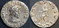 Ancient Coins - Indo-Greek: Hermaios AR tetradrachm, helmeted type. RARE LIFETIME ISSUE.