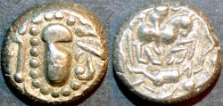Ancient Coins - INDIA, Silaharas of Konkan ? or Paramaras of Malwa ?, Anonymous Silver drachm (gadhaiya paisa type) with Battle Scene. UNUSUAL and CHOICE!