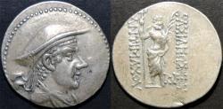 Ancient Coins - BACTRIAN KINGDOM, Antimachus I (Antimachos): Silver tetradrachm. VERY RARE and CHOICE+!