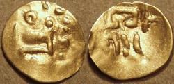 Ancient Coins - INDIA, EASTERN GANGAS, temp. Narasimha III (1328-52) Gold fanam, Year 15. RARE & CHOICE!