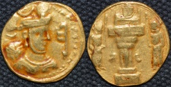 Ancient Coins - INDO-SASANIAN: Shahpur III Gold dinar, Sind mint. RARE and CHOICE!