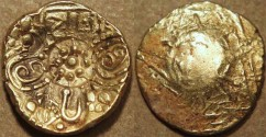 Ancient Coins - INDIA, NOLAMBAS, Nanni Nolamba II (1044-52) punchmarked Gold gadyana (pagoda). EXTREMELY RARE and CHOICE!