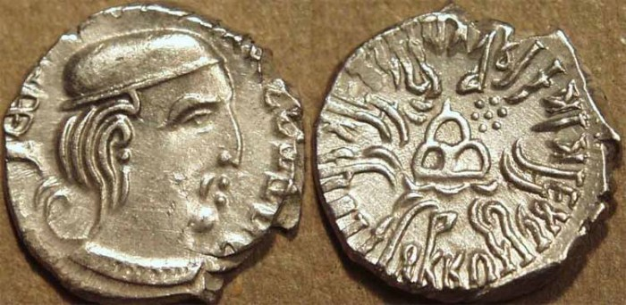 Ancient Coins - INDIA, WESTERN KSHATRAPAS: Rudrasena III (348-378 CE) Silver drachm, year S. 291. CHOICE!