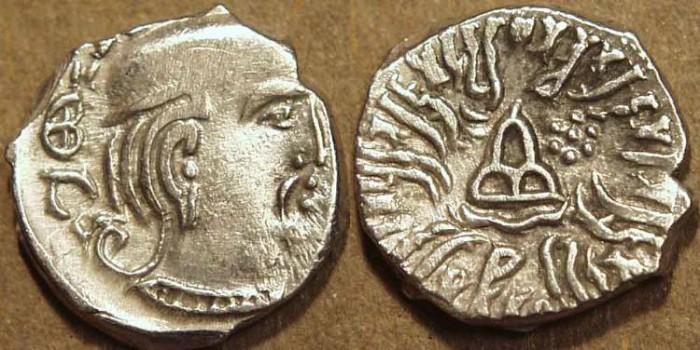 Ancient Coins - INDIA, WESTERN KSHATRAPAS: Rudrasena III (348-378 CE) Silver drachm, year S. 292. CHOICE!