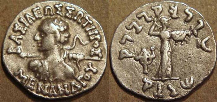 Ancient Coins - INDO-GREEK: Menander I Silver drachm, spearthruster type with Athena right. SCARCE and CHOICE!