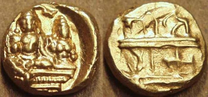 World Coins - INDIA, VIJAYANAGAR: Tirumalaraya Gold half pagoda, RARE!
