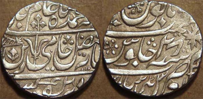 World Coins - INDIA, MARATHA: Silver rupee in the name of Shah Alam II, Ravishnagar Sagar, year 28. Unlisted in KM. CHOICE!