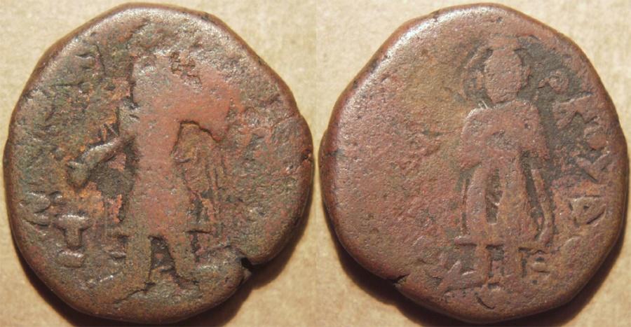 Ancient Coins - INDIA, KUSHAN: Kanishka I AE tetradrachm, Buddha reverse, Cribb 6. VERY RARE!