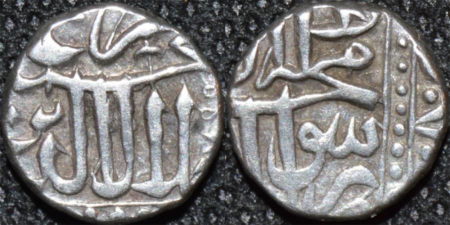 World Coins - INDIA, MUGHAL, time of Akbar (1556-1605) AR 1/2 mahmudi, issued by Raja of Baglana. RARE and CHOICE!