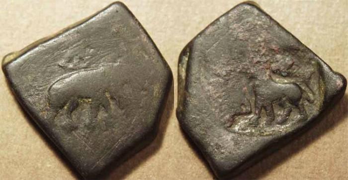 Ancient Coins - INDIA, PUSHKALAVATI City Coinage: AE 1+1/2 karshapana, Elephant R/Lion L