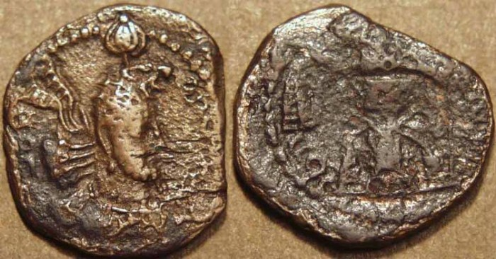Ancient Coins - INDIA, KUSHANO-SASANIAN, Hormizd I Kushanshah: Copper drachm, neat type.