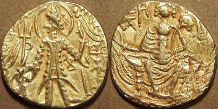 Ancient Coins - INDIA, Kushan: Shaka Gold dinar, Mi under arm. CHOICE!